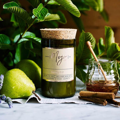 Mojo Wine Bottle Candle - French Pear - Upcycle Studio