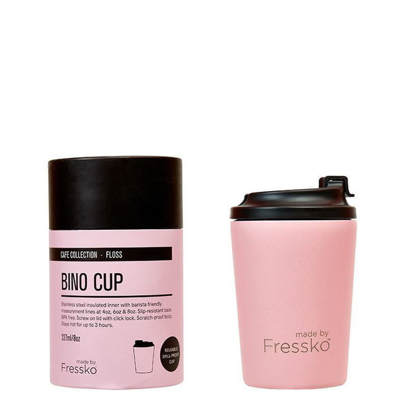 Fressko BINO 8oz - Floss | Re Usable Coffee Cup | reusable cup | Take away Coffee Cup | Cafe Coffee Cup | Best Reusable coffee cup | Refillable Coffee Cup | Eco Coffee Cup | Camping cups | Kids cups | Cups | Reusable tea cup | personalised coffee cup Australia | online reusable coffee cup Australia | custom coffee cups | Upcycle Studio