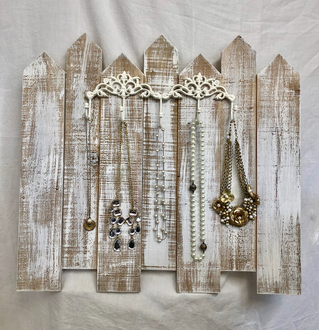 White-Washed Fence Jewelry Organizer