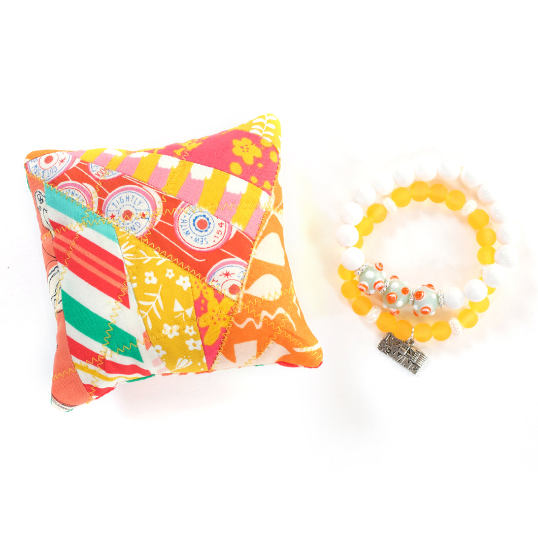 Sunset - Pin Cushion and I Love Sewing Bracelet Set