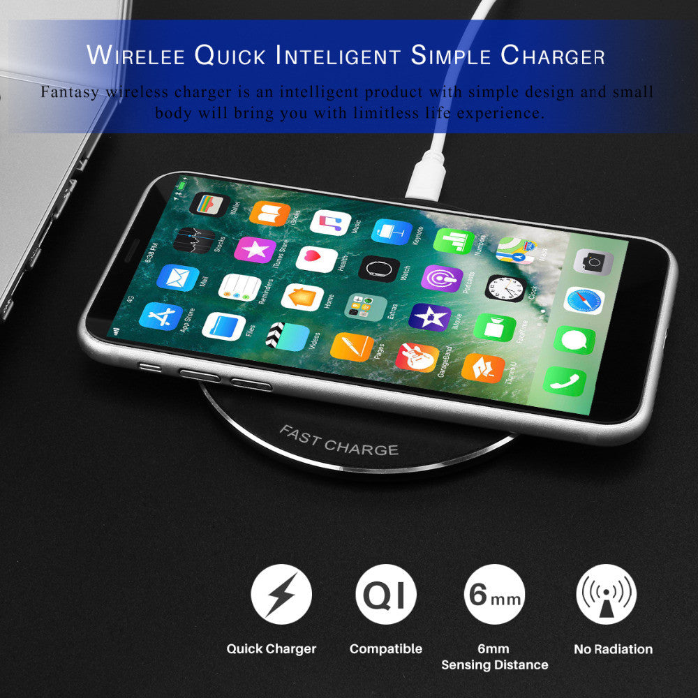 Fornorm Wireless QI Quiky Charger Universal Ultra Slim Free Charger for Samsung IPhone 8X - Modern Materials
