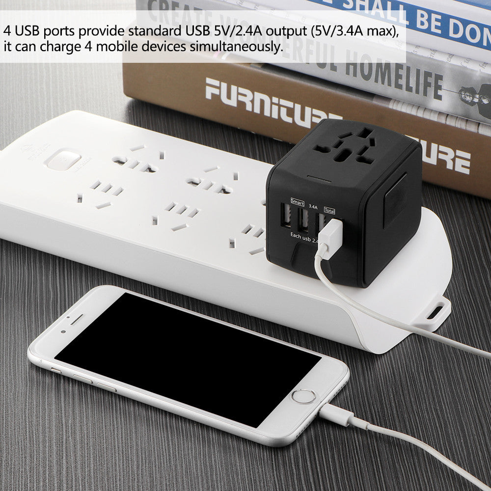FORNORM Universal Travel Adapter All-in-one International Travel Charger 5V 2.4A 4 USB Ports Wall Charger for US/EU/AUS/UK - Modern Materials