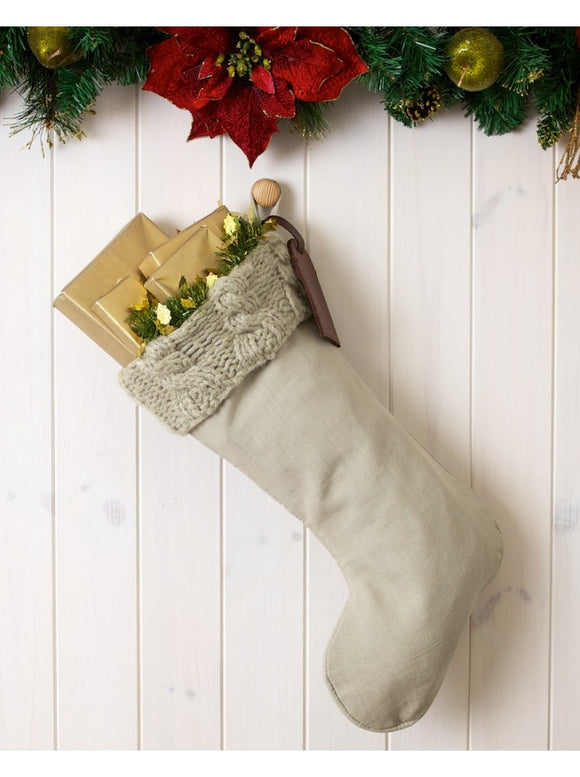 Winter Grey Cable Knit Luxury Stocking
