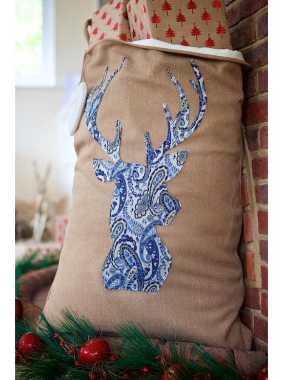 Warm Winter Brown Blue Paisley Stag Santa Sack
