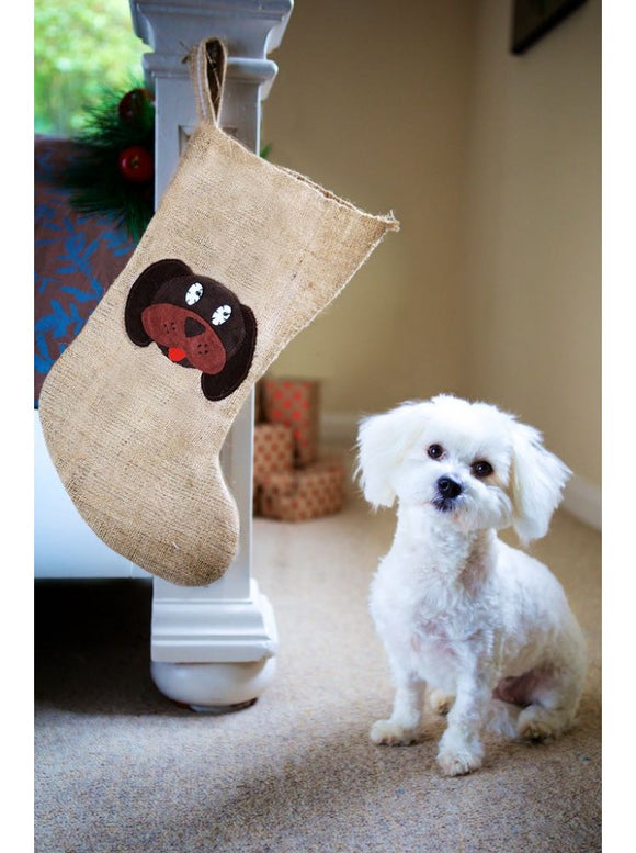 Dog Hessian Christmas Stocking