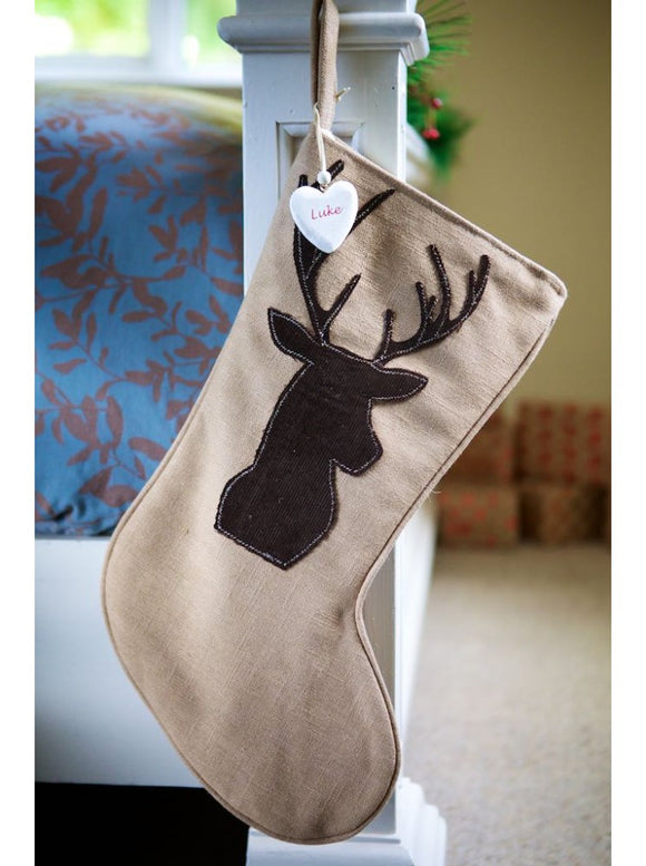 Woodland Stag on Vintage Stocking