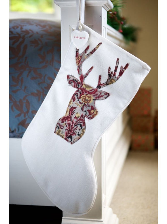 Red Paisley Stag on Winter White Stocking