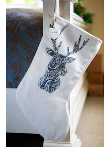 Blue Paisley Stag on Winter White Santa Stocking