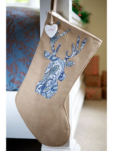 Warm Winter Brown Blue Paisley Stag Christmas Stocking