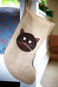 Cat Hessian Christmas Stocking