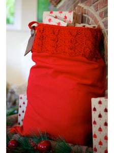 Red Cable Knit Luxury Christmas Sack