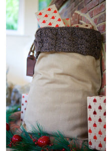 Country Winter Brown Cable Knit Santa Sack