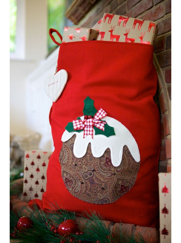 Vintage Style Pudding on Red Santa Sack