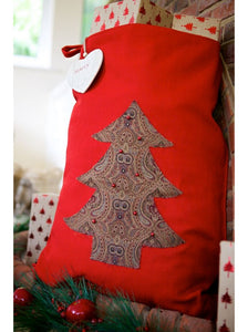Vintage Style Red Christmas Tree Christmas Sack