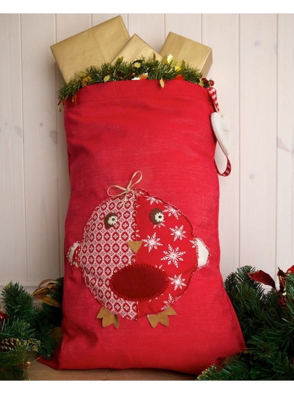 Personalised Red Santa Sack With Robin