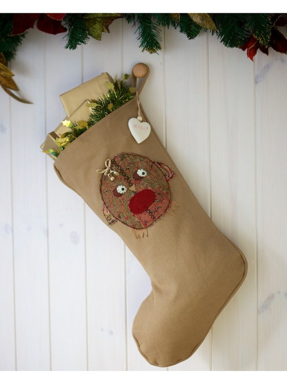 Personalised Vintage Style Stocking With Robin