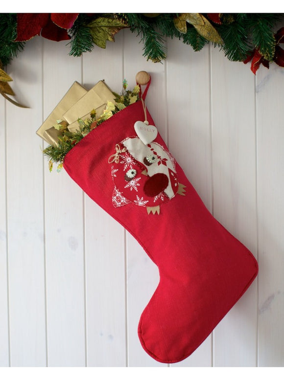Personalised Red Stocking with Robin