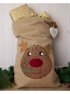 Vintage Style Paisley Rudolph on Red Santa Sack