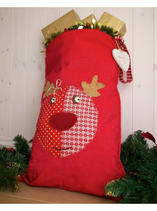Personalised Red Santa Sack With Rudolph