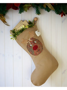 Personalised Vintage Style Rudolph Stocking