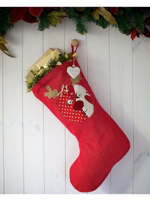 Personalised Red Stocking With Rudolph