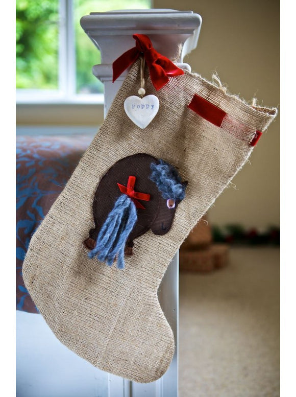Pony Hessian Santa Stocking