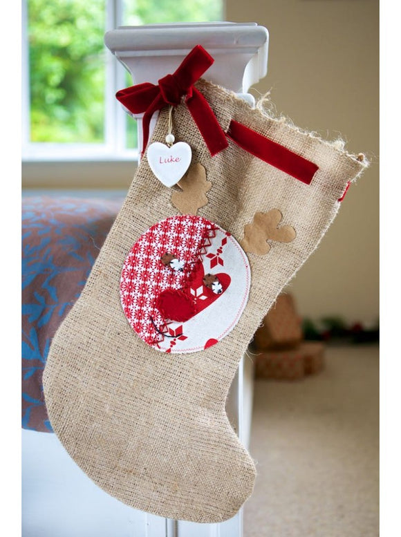 Rustic Hessian Rudolph Santa Stocking