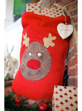 Vintage Style Paisley Rudolph on Red Stocking