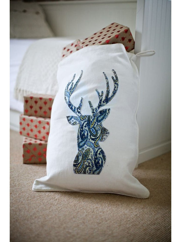 Blue Paisley Stag on Winter White Santa Sack