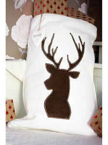Woodland Stag on Winter White Santa Sack