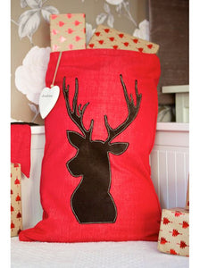 Woodland Stag on Red Santa Sack