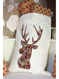 Red Paisley Stag on Winter White Santa Sack