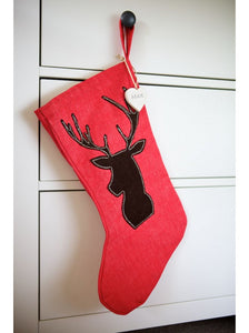 Woodland Stag on Red Stocking