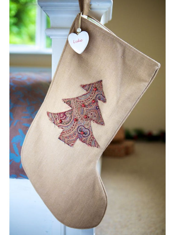 Vintage Style Paisley Christmas Tree Stocking