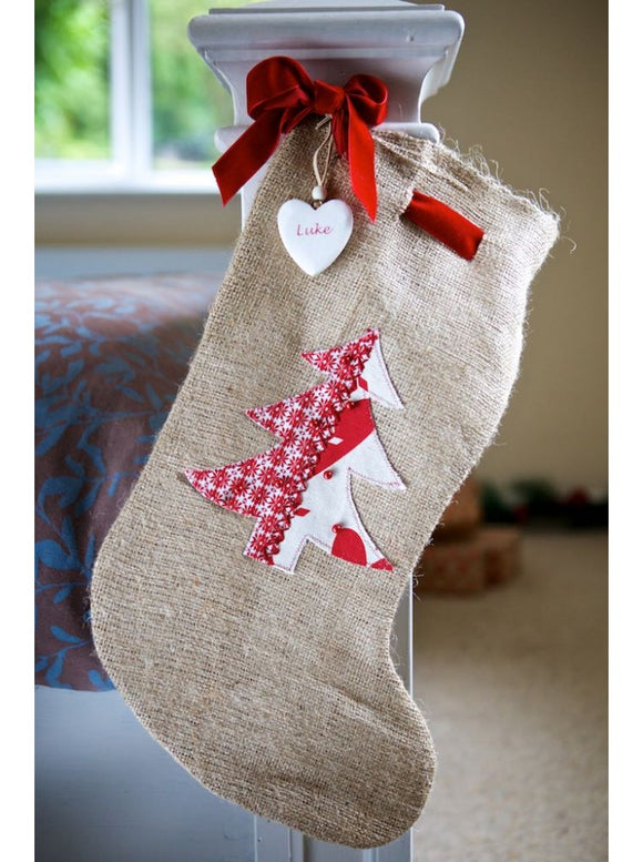 Rustic Hessian Christmas Tree Stocking