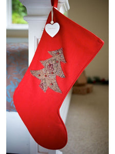 Vintage Style Red Christmas Tree Stocking