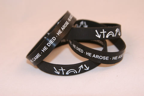 "Large (XL) BLACK Witness Bracelet with ""Always in View"" symbols and Description Inside  (Free Shipping)"