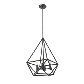 VEGA 4- Light Matte Black Cage Hanging Lights, Ceiling Lamp for Kitchen Island, Living Room and  Dining Room