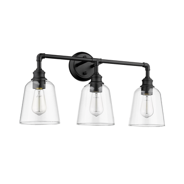 MILLA 3-Light Matte Black Damped Rated Bathroom Vanity Light Fixture with Clear Glass Shade