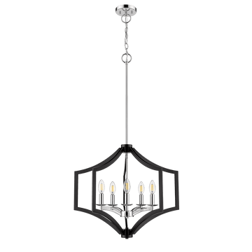 Maya 5-Light Matte Black Chrome Dining Chandelier