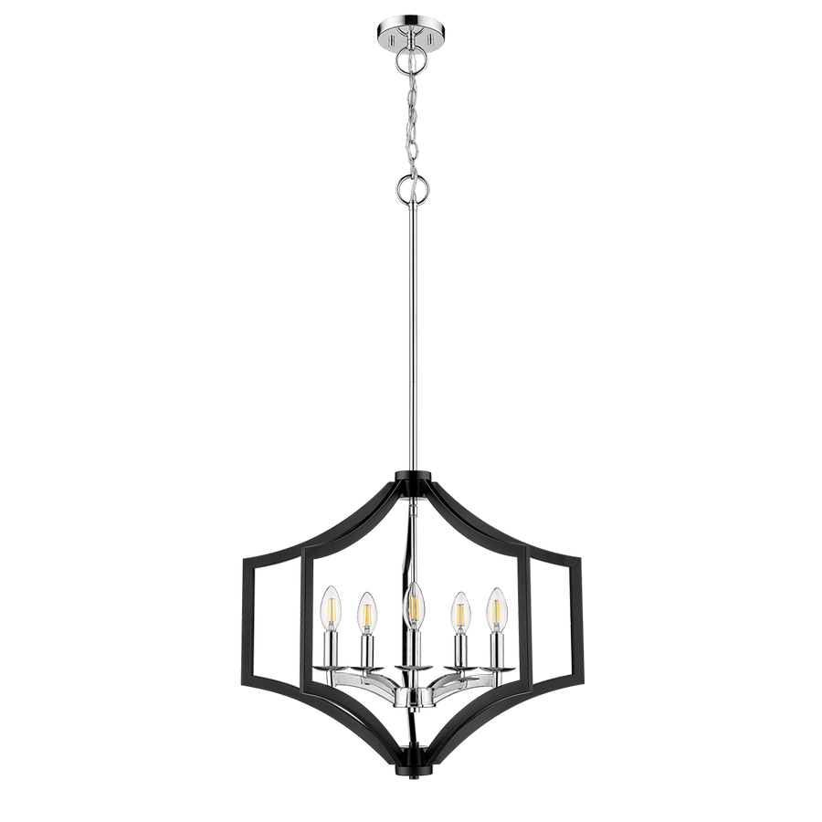 Vivio Maya 5-Light Matte Black Chrome Dining Chandelier