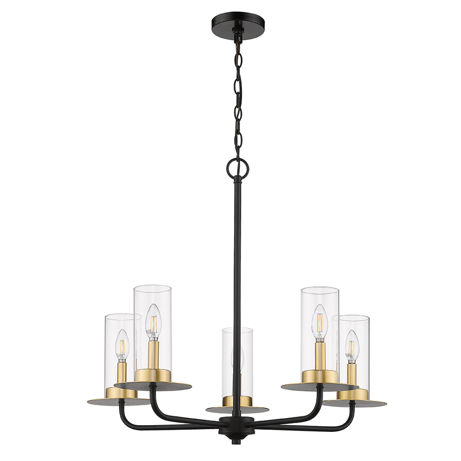 Vivio 5-Light Chandeliers for Dining Room Kitchen Island Lighting Hanging Fixture - Black and Gold Chandelier