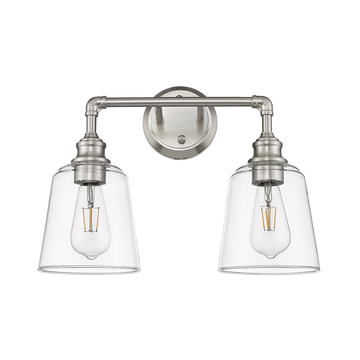 Milla 2-Light Brushed Nickel Bathroom Vanity Light Fixture with Finish Clear Glass Shades
