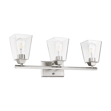 Blair 3-Light Brushed Nickel Vanity Clear Glass