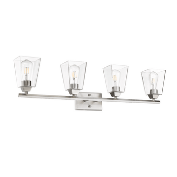 Blair 4-Light Brushed Nickel Vanity Clear Glass