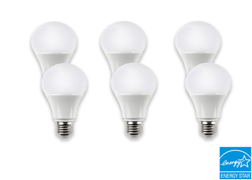 LED 9 Watt Dimmable Light Bulb in White Finish Energy Star Certified - 6 Pack