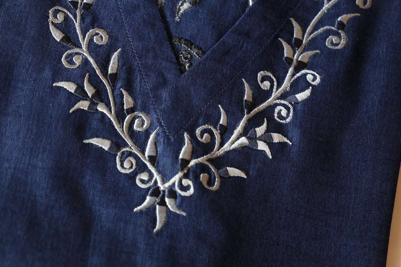 Blue Embroidered Kaftan