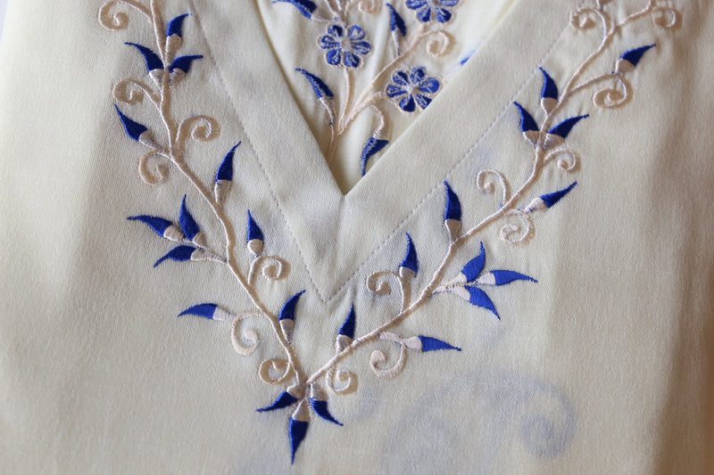 Cream Embroidered Kaftan