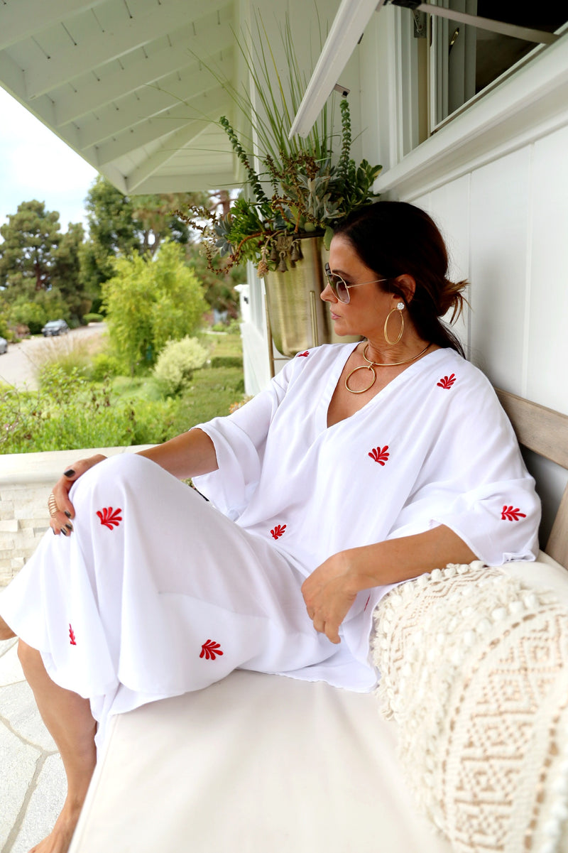 White with Red Embroidered Flower