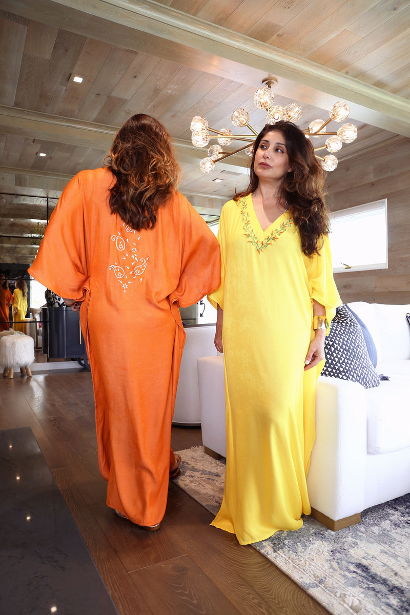 Orange Embroidered Kaftan